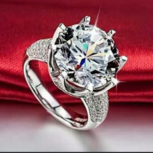 Jewelry - Princess Cut 925 Sterling Silver and Crystal Ring